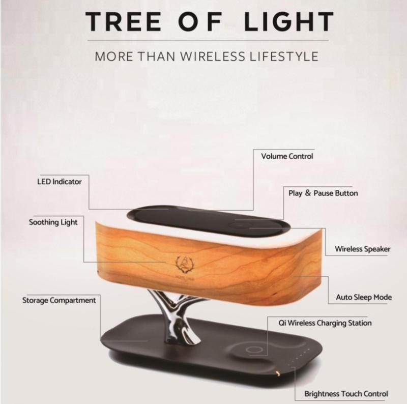 Tree of Light 多功能原木LED檯燈配置藍牙喇叭及無線充電器