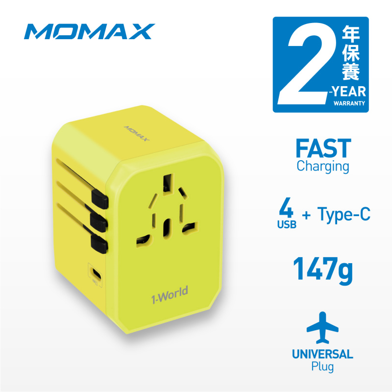 Momax - 1 World USB 旅行插座 Type-C + 4 USB