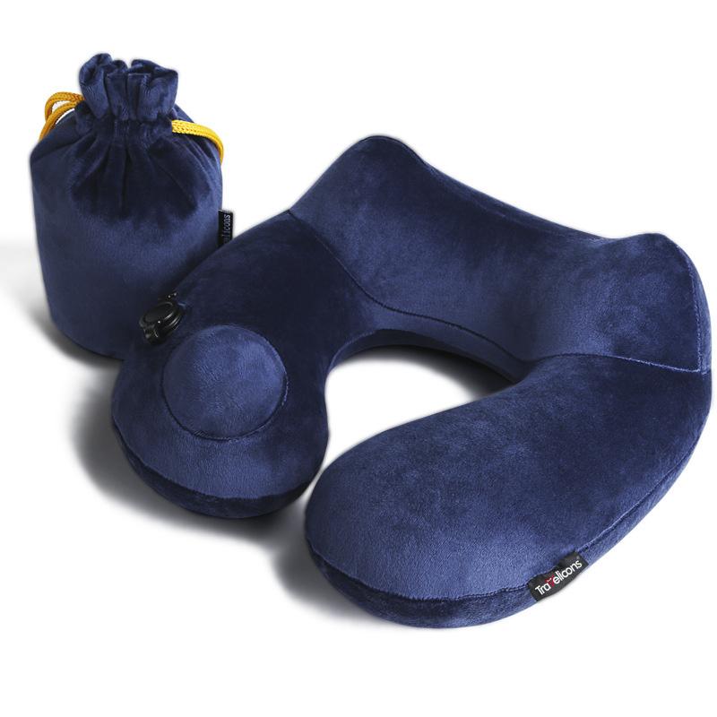 Travelicons 可折疊可洗旅行枕 飛機枕 按壓式輕鬆充氣枕頭 U型護頸枕
