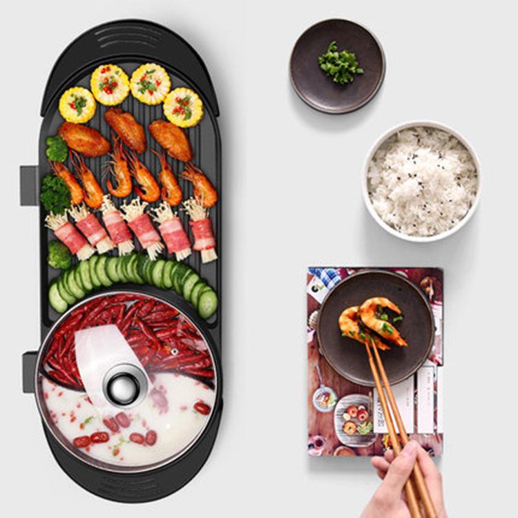 日本JTSK 韓式無煙涮烤一體式電燒烤爐-多功能鴛鴦火鍋