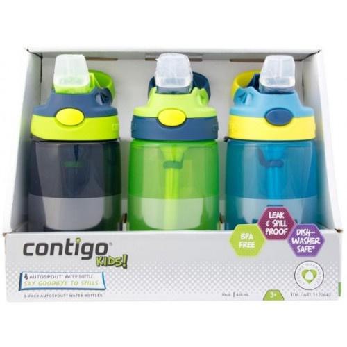 Contigo 兒童防漏吸管杯三個裝 414ml X3 [2款]