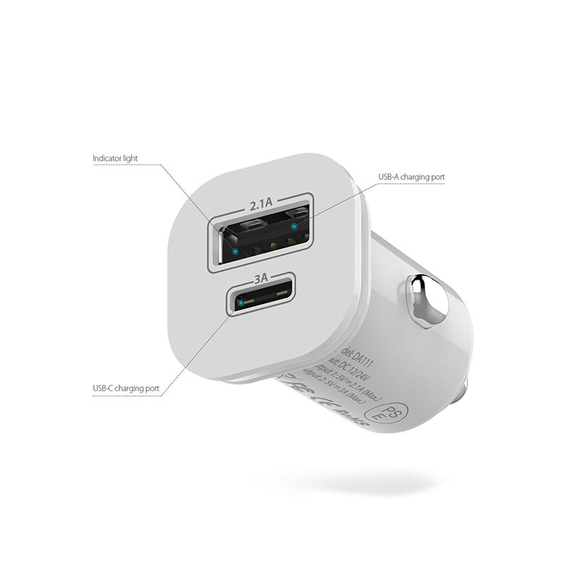 dodocool USB-C 迷你雙USB車載充電器