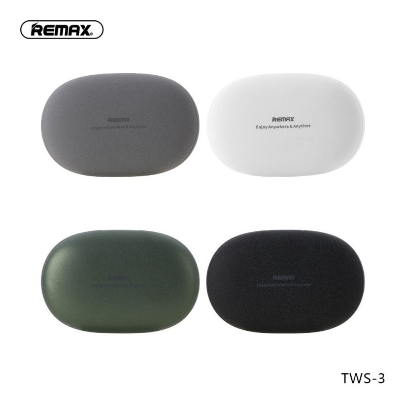 原裝正貨 REMAX 精品TWS立體聲藍牙耳機系列連'石卵'盒充電倉• TWS-3