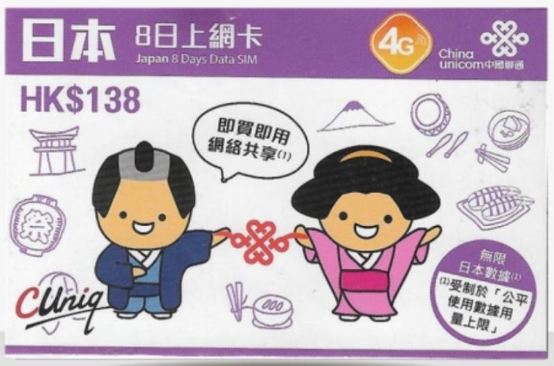 日本上網數據卡+通話 | 中國聯通 8天