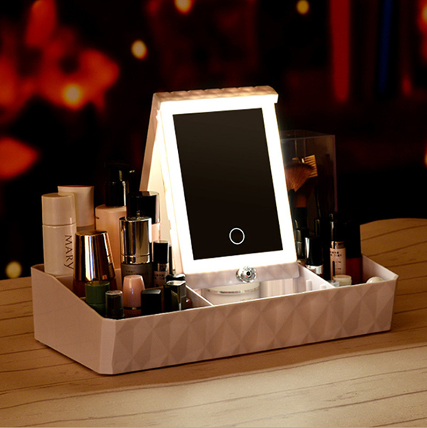 TSK 創意LED款多功能檯式收納盒化妝鏡