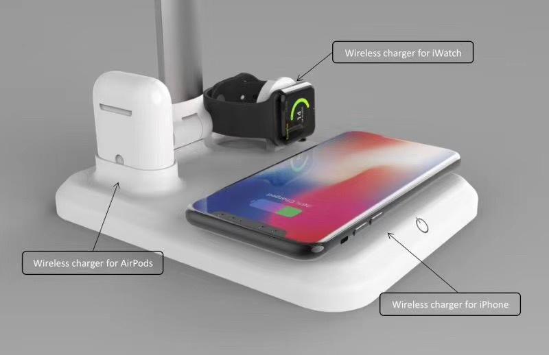 X-1 蘋果伴侶•4合1多功能充電台連護眼檯燈