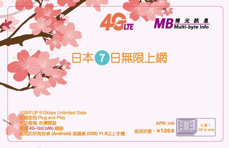 日本 Docomo 真無限數據上網 | 博元 7日