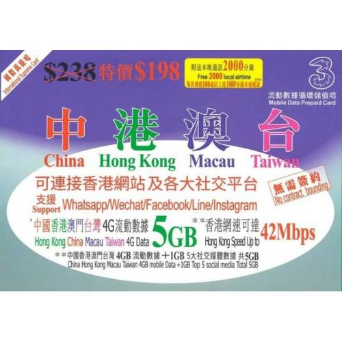 中港澳台 5GB 數據卡+本地通話 | 3HK 年卡