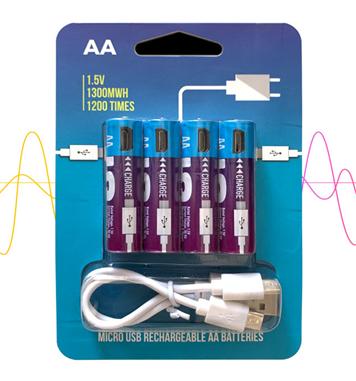 Smartools 1.5V MicroUSB 循環充電 AA電池 NiZn Battery[4粒/8件/12粒裝]