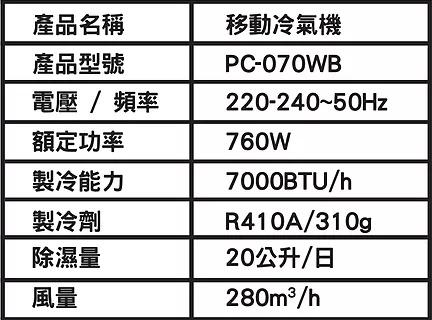 日本 SENCE - [香港行貨][一年保用] Sence 部屋移動式冷氣3/4匹 PC-070WB 抽濕機20L 2合1