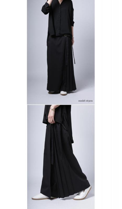 日本Ribbon x Pleats ワイドパンツ 裙褲 [2色]