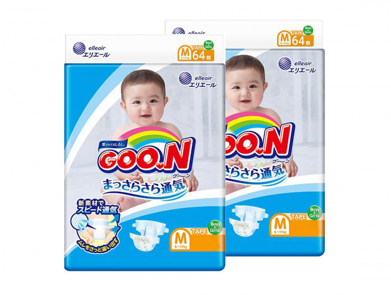 $210/2包 日本 內銷版 Goo.N (Goon) 大王尿片 中碼M68片 免費送到順便智能櫃