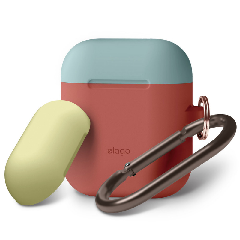 Elago雙蓋矽膠保護套連爬山扣AirPods1/2 有線充電盒專用(10組色)