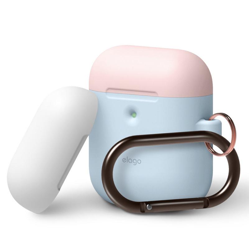 Elago AirPods無線充電盒專用雙蓋LED視窗矽膠保護套連爬山扣(5色)