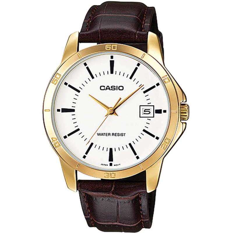 CASIO Analog 時尚金框皮帶手錶 [2色]
