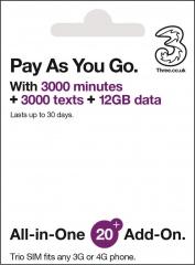 全球多國通用 | Pay As You Go | 12GB 極速數據 | 3UK 30日