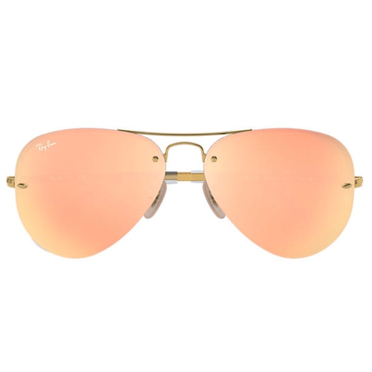 Ray-Ban RB3449 Aviator 銅色反光鏡片太陽眼鏡 | 001/Y2 金色鏡框