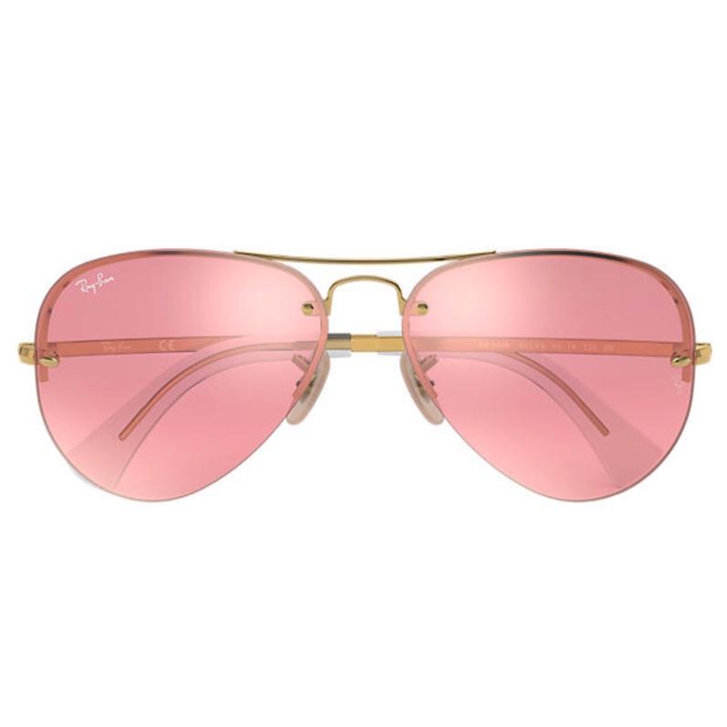 Ray-Ban RB3449 001/E4 Aviator Large Mirror 太陽眼鏡   金色鏡框及粉紅色反光鏡片