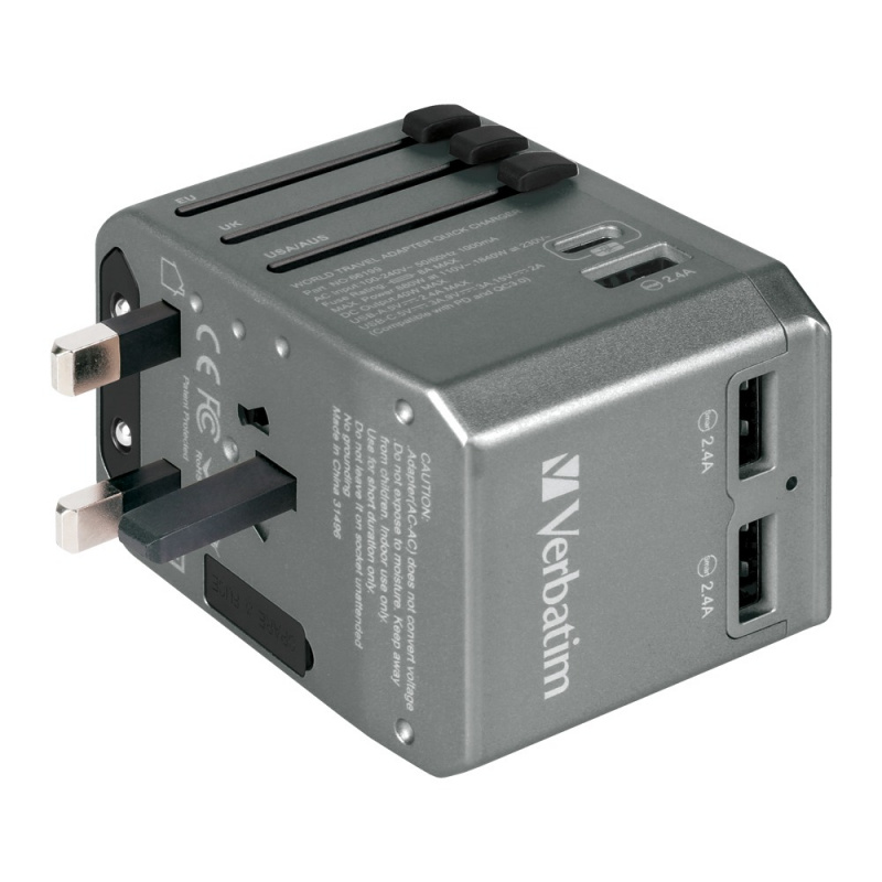 Verbatim 4 Ports 40W PD Travel Adapter [2色] (居家旅行必備)