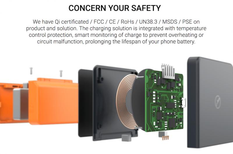 Libtech BricksPower 無線充電器行動電源二合一 粘貼式行動電源 納米吸附 超薄小巧便攜 QI無線充
