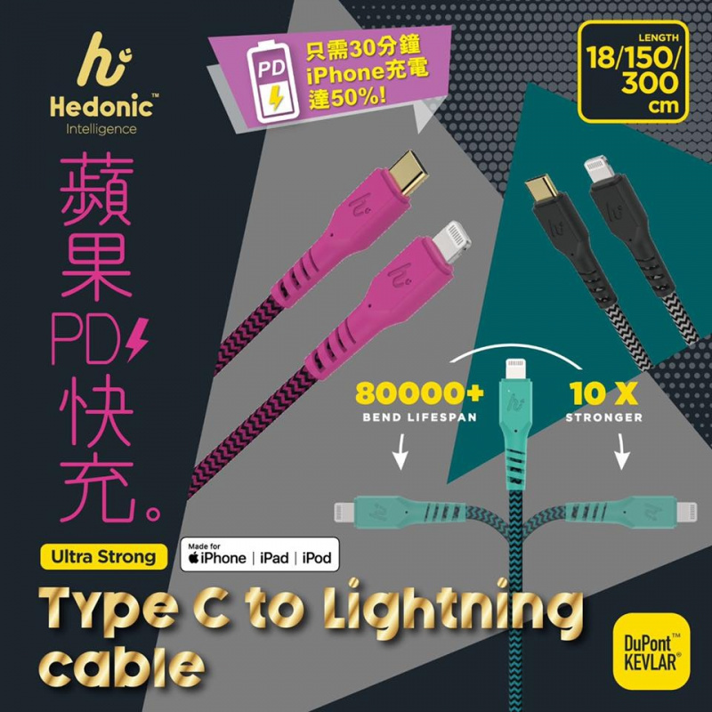 Hedonic USB-C to Lightning 充電傳輸線