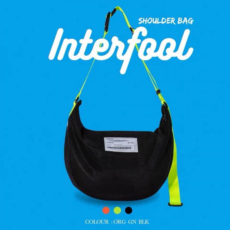 INTERFOOL 2019 S/S INTERFOOL大容量螢光尼龍網格縷空單肩斜跨包 F124A001-003