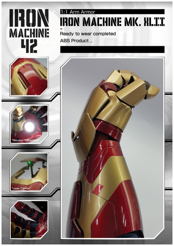 Cattoys 1:1 led armor arm for iron man mk42