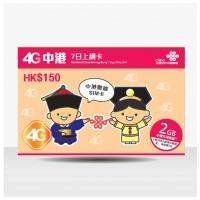 中國聯通 $150 4G 中港7日2GB上網卡