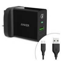 Anker Powerport +1 with Quick Charge 3.0 UK + Micro Cable Black