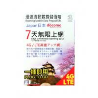 3 Docomo 日本7天 7gb 4G lte 無限上網卡