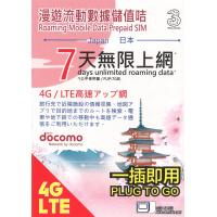 3HK 日本 Docomo 7日漫遊流動數據儲值卡