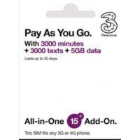 3UK 英國 30日 4G 5GB 3000分鐘、通話、訊息數據卡