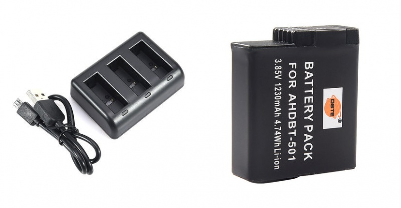 DSTE AHDBT-501 Battery + USB Triple Charger for GOPRO HERO 5