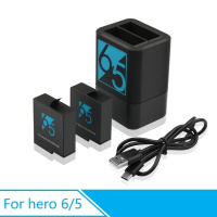 FOCUS NEW VERSION: 2PCS 1220mAh Battery + Dual Charger for GOPRO HERO 6 / HERO 5
