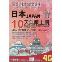 Docomo 3HK 日本 Docomo 10日漫遊流動數據儲值卡
