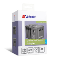 Verbatim 3 Ports Universal Travel Adapter (Fast Charge Edition)