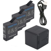 RUIGPRO 3pcs battery + USB Triple Charger Box ( FOR GOPRO HERO7 / HERO6 / HERO5 )
