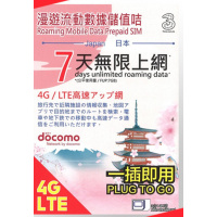 3HK 3HK x Docomo 日本 7日漫遊流動數據儲值
