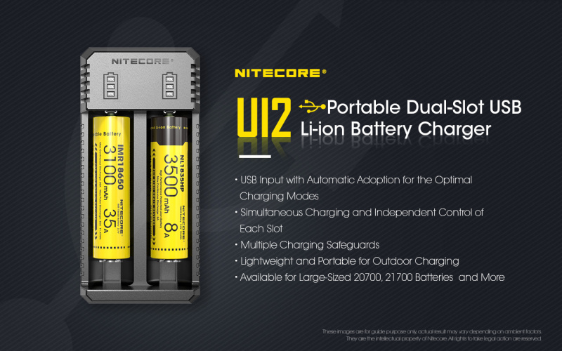 Nitecore UI2 Portable Dual-Slot USB Li-ion Battery Charger