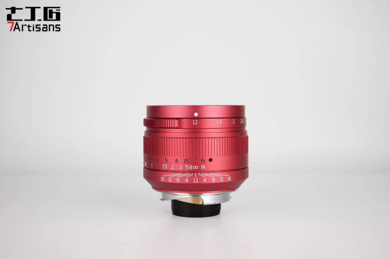 7 ARTISANS 50mm F1.1 Leica M Mount Fixed Lens for Leica M-Mount Cameras Red (ltd edition)