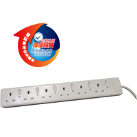 Omni 13A 6位獨立開關有指示燈拖板 (連電綫9尺) UK060-9